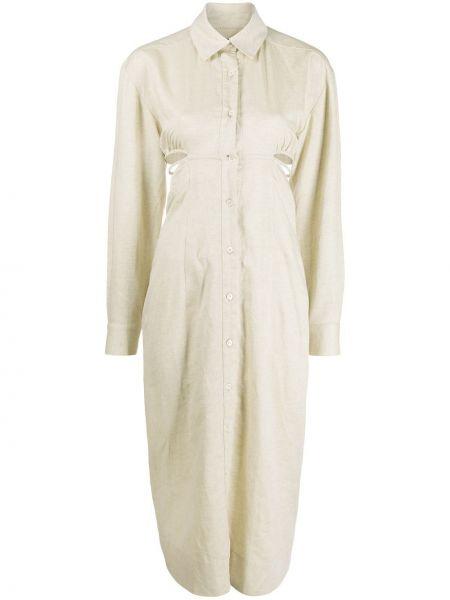 Льняное классическое платье макси с воротником с длинными рукавами Jacquemus