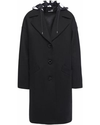 Шерстяное черное пальто с капюшоном Love Moschino