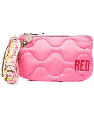 Różowa kopertówka pikowana z haftem Red Valentino