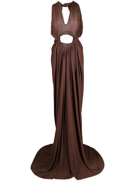 Sukienka długa z jedwabiu - brązowa Rick Owens