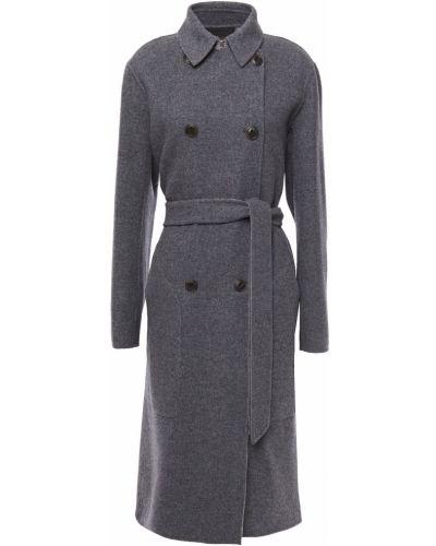 Szary płaszcz dwurzędowy wełniany z paskiem Rag & Bone