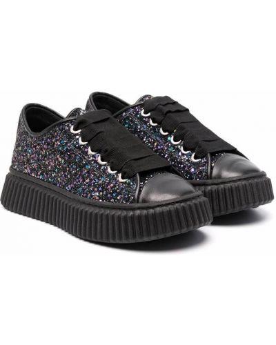Czarne brokatowe buty sportowe Marni Kids