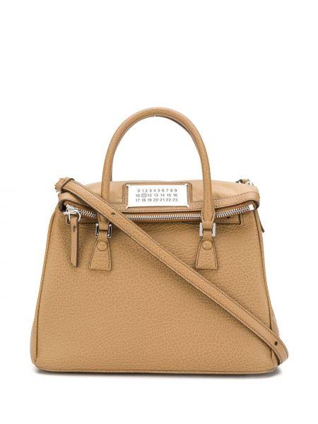 Skórzana torebka na ramię z haftem Maison Margiela