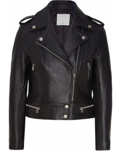 Кожаная куртка черная на молнии Sandro