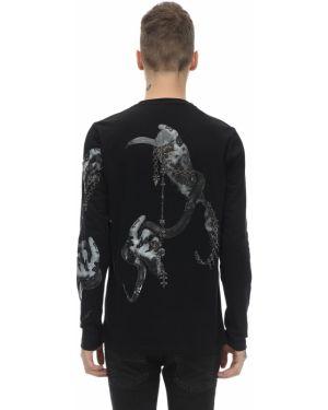 Czarny t-shirt z długimi rękawami z cekinami Rh45
