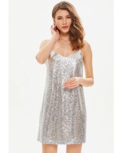 Серебряное вечернее платье Moru