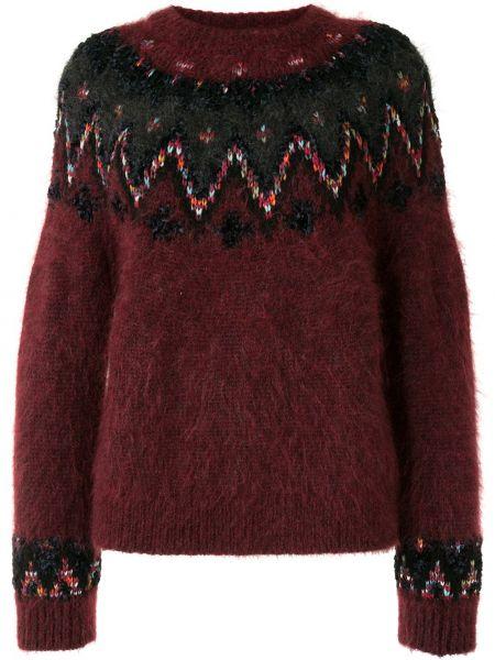 Красный свитер из мохера с рукавом реглан в рубчик Coohem