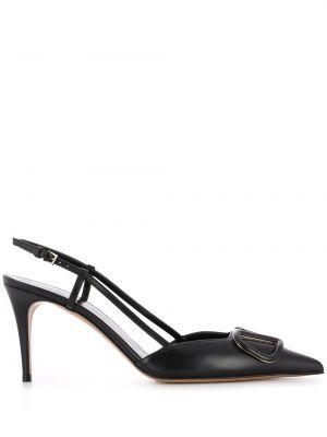 Черные открытые кожаные туфли на шпильке Valentino