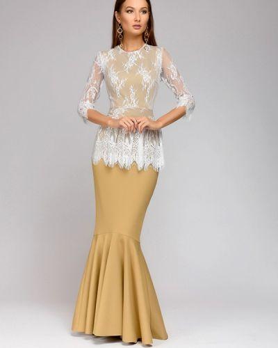 Платье осеннее бежевое 1001dress