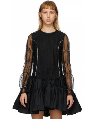 Черная нейлоновая блузка с длинным рукавом с сеткой с воротником Renli Su