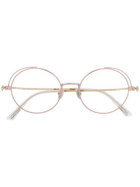 Розовые очки круглые металлические Jimmy Choo Eyewear