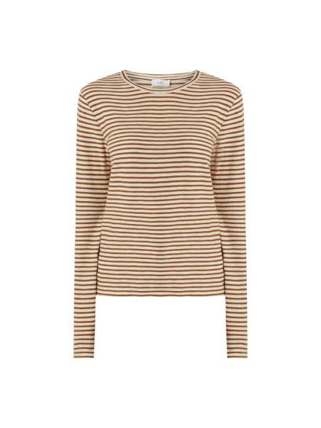 Brązowa bluzka w paski bawełniana Closed