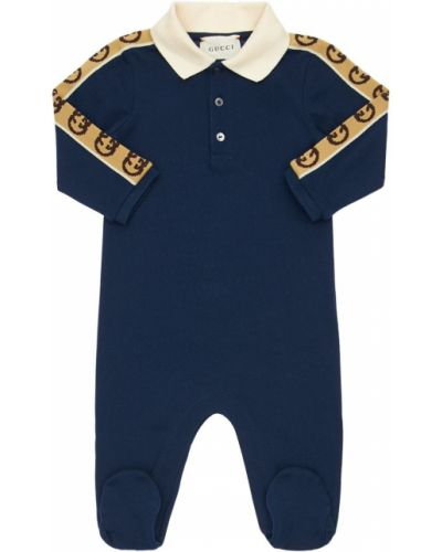 Z rękawami bawełna bawełna koszulka polo z kołnierzem Gucci