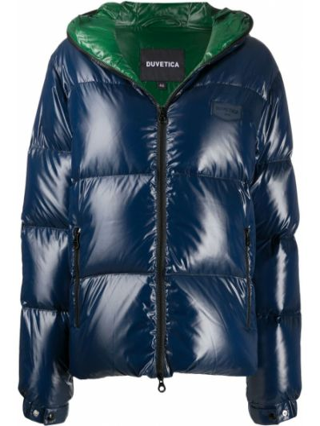 Синее пуховое длинное пальто с капюшоном Duvetica