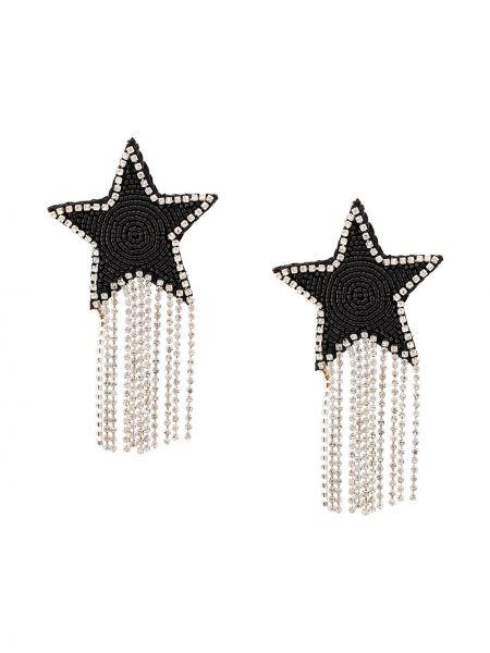 Czarne kolczyki sztyfty srebrne z haftem Venessa Arizaga