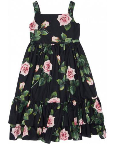 Черное платье свободного кроя без рукавов Dolce & Gabbana