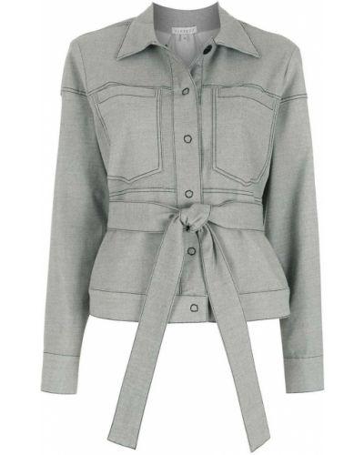 Серый классический пиджак с поясом с воротником Alcaçuz