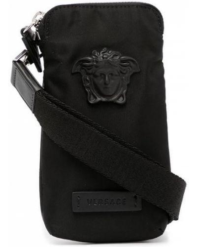 Czarny portfel srebrny Versace
