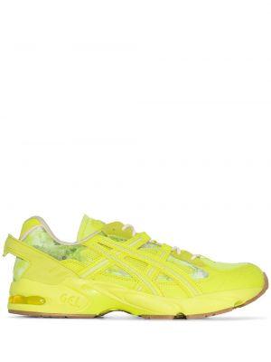 Желтые кожаные кроссовки на шнуровке Asics