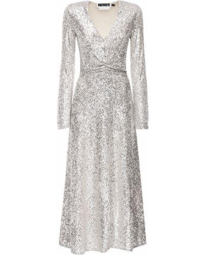 Платье миди с пайетками - серебряное Rotate
