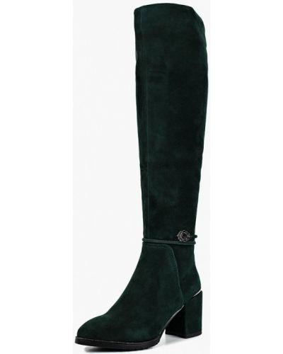Ботфорты на каблуке зеленый замшевые Provocante
