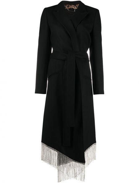 Czarny wełniany długi płaszcz z kieszeniami z długimi rękawami Philipp Plein