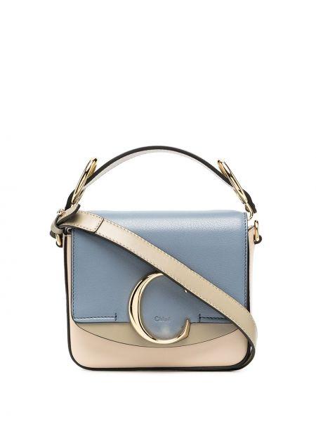 Niebieski bawełna skórzany torba na ramię z kieszeniami Chloe