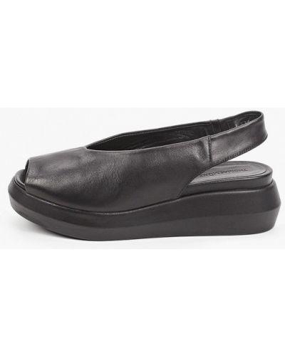 Черные кожаные босоножки Thomas Munz