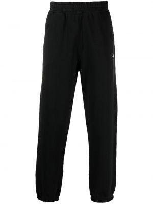 Прямые флисовые черные спортивные брюки Stussy