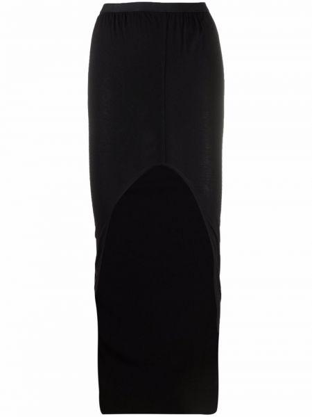 Хлопковая с завышенной талией черная юбка карандаш Rick Owens Lilies