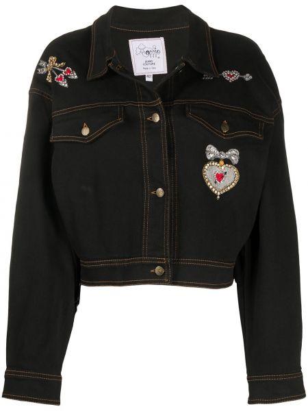Черная джинсовая куртка с вышивкой с воротником A.n.g.e.l.o. Vintage Cult