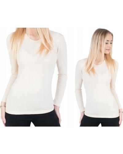 Biały t-shirt z długimi rękawami bawełniany Darex