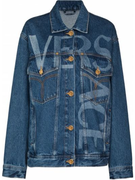 Niebieskie jeansy skorzane Versace