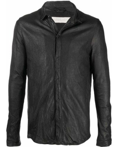 Czarna klasyczna koszula z długimi rękawami skórzana Giorgio Brato