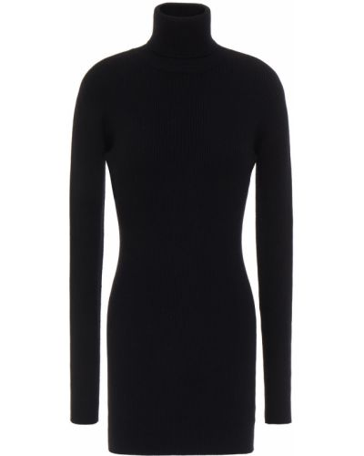 Шерстяное черное платье мини с декольте Dolce & Gabbana