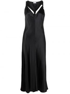 Шелковое платье миди - черное Rosetta Getty