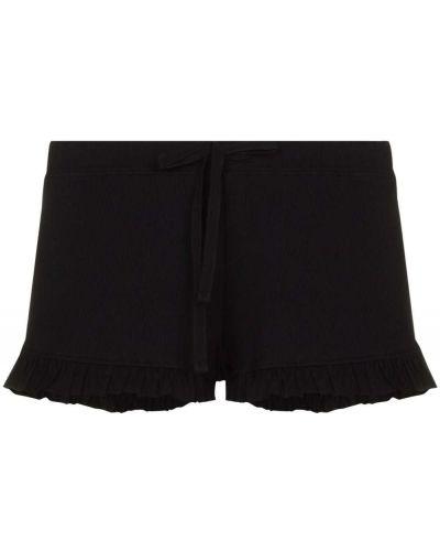 Ватные кожаные черные шорты Skin