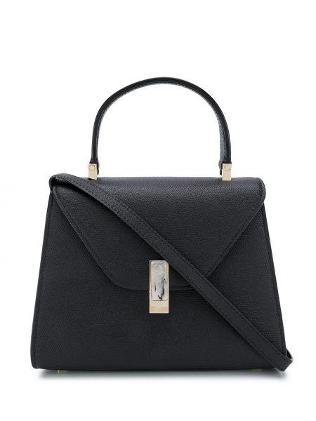 Кожаная золотистая черная маленькая сумка с карманами Valextra