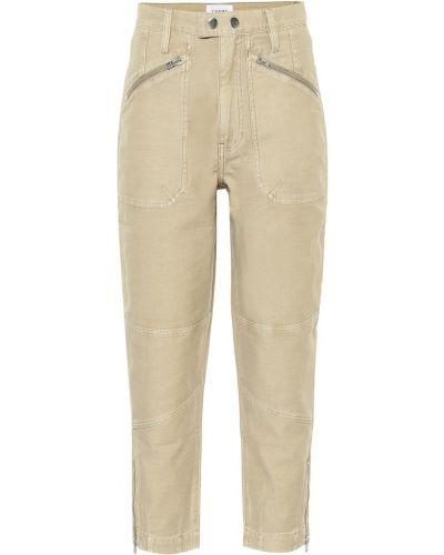 Прямые ватные хлопковые бежевые прямые джинсы Frame