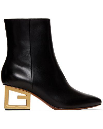 Czarny buty obcasy na pięcie z prawdziwej skóry Givenchy