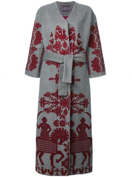 Кашемировое серое пальто с поясом с вырезом Yuliya Magdych