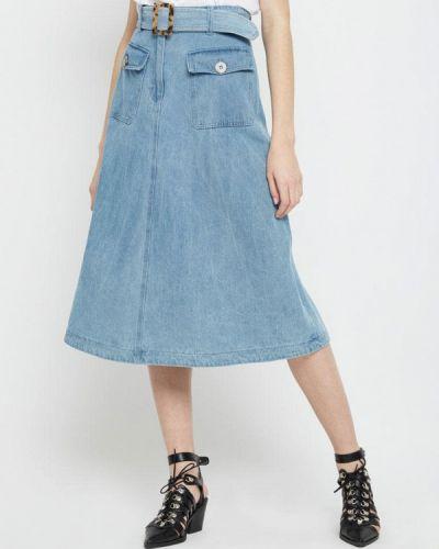 Джинсовая юбка весенняя салатовый Lime
