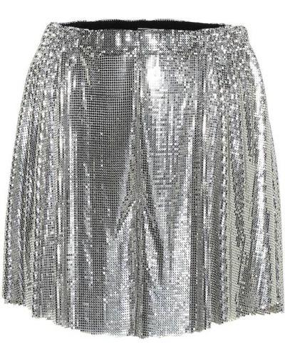 Серебряные короткие шорты с сеткой Paco Rabanne