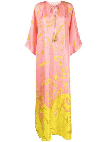 С рукавами розовое шелковое платье макси Emilio Pucci