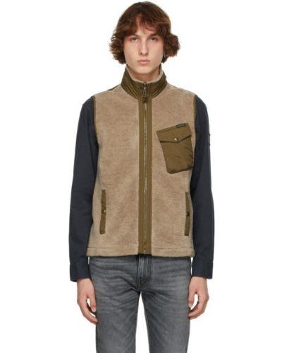 Бежевая жилетка с карманами без рукавов Belstaff
