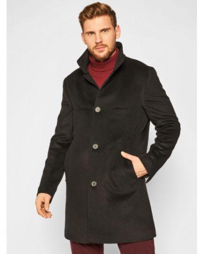 Płaszcz wełniany - czarny Oscar Jacobson
