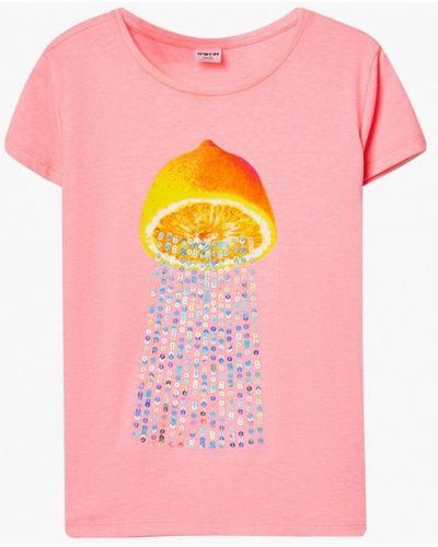 Розовая с рукавами футболка O'stin