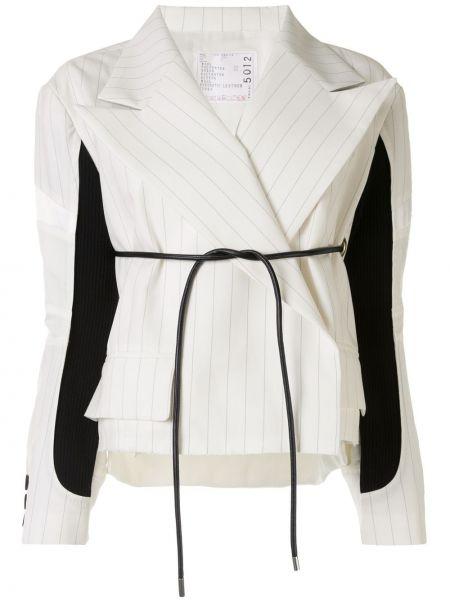 Шерстяной белый пиджак на пуговицах Sacai