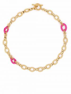 Złoty naszyjnik łańcuch - różowy Gas Bijoux