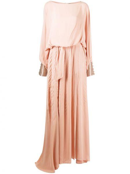 Асимметричное розовое платье макси на пуговицах с жемчугом Christian Pellizzari